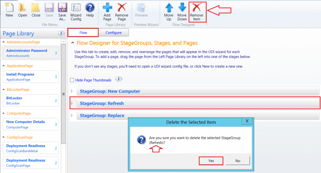 Click Yes - Delete the selected StageGroup(Refresh) - Customizing UDI Wizard