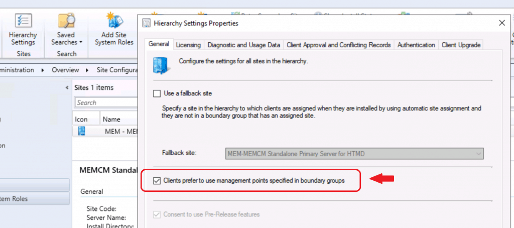 SCCM Preferred Management Points - Preferred Management Point Settings
