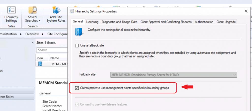 SCCM Preferred Management Points - Preferred Management Point Settings