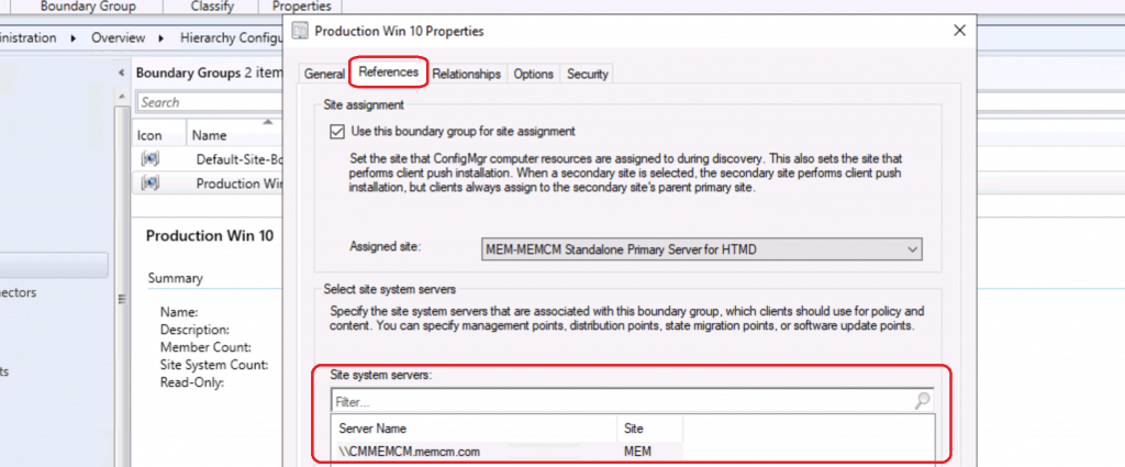 Reference Boundary Groups - SCCM Preferred Management Points