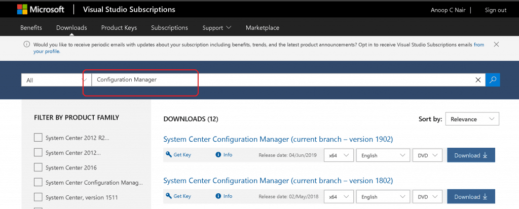 SCCM Baseline Version - Installation Media - Configuration Manager