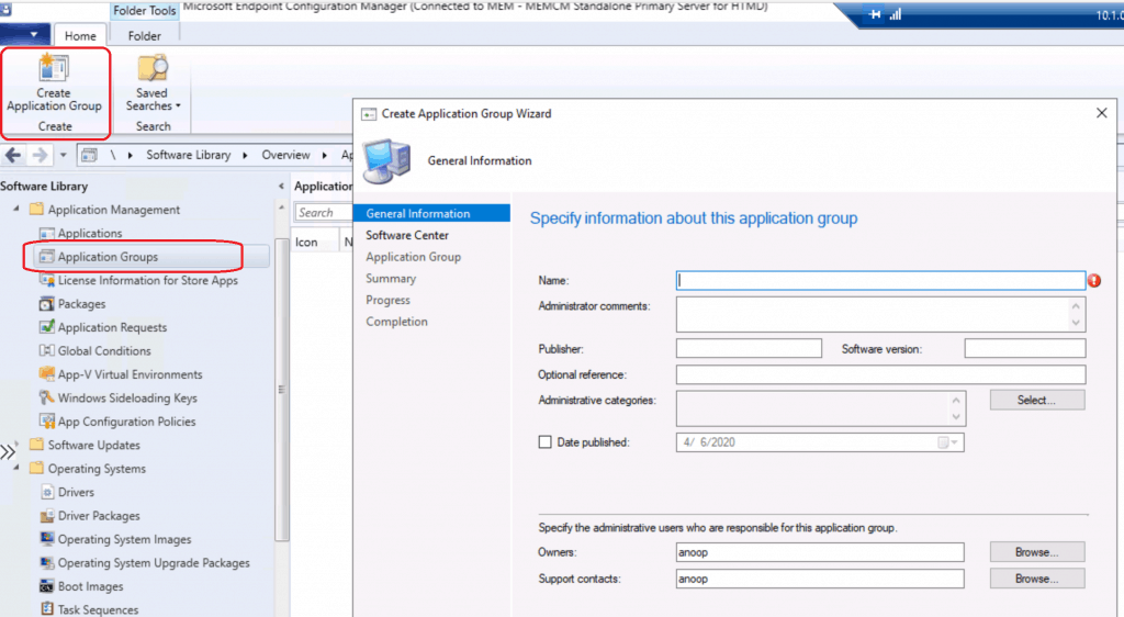 Create Application Group Using SCCM ConfigMgr