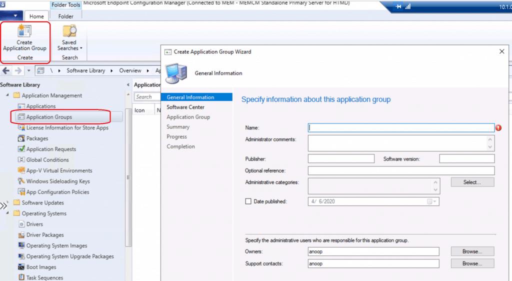 Create Application Group Using SCCM ConfigMgr