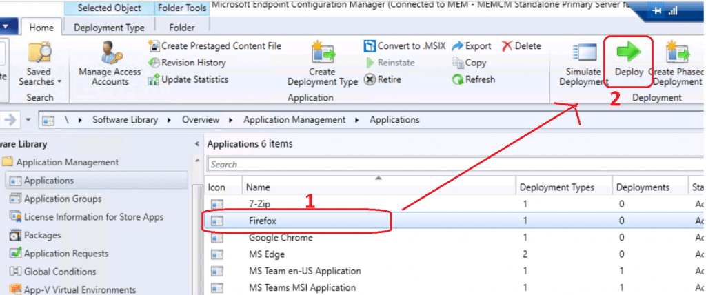 Deploy button - Deploy Firefox Browser Using SCCM