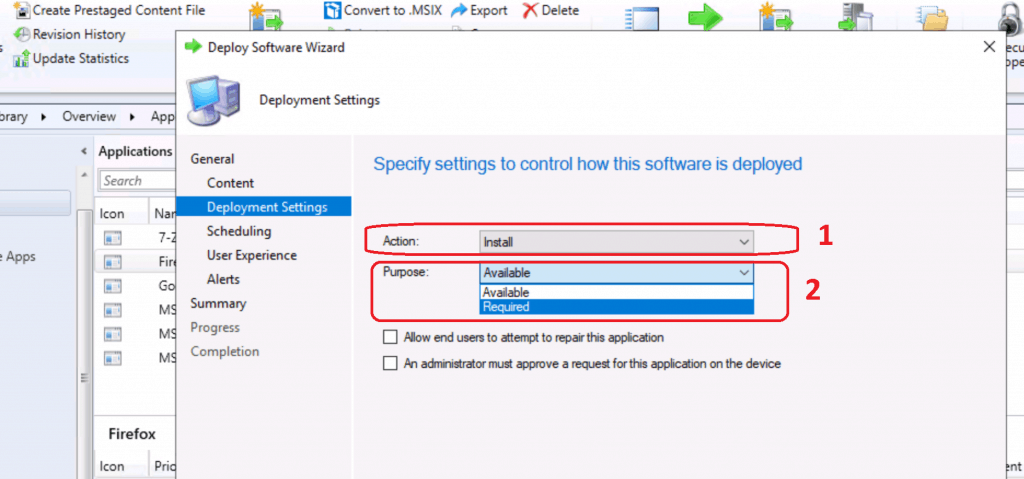Select Purpose as Required - Deploy Firefox Browser Using SCCM