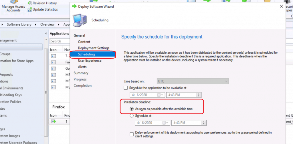 Specify the deadline - Deploy Firefox Browser Using SCCM
