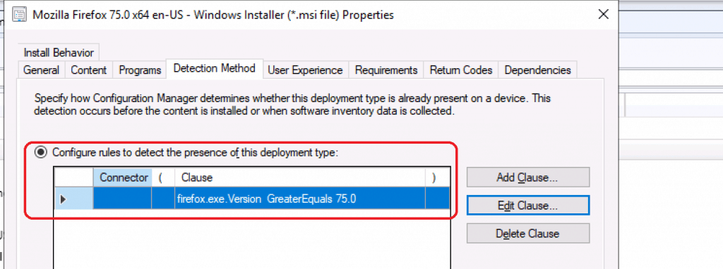 Mozilla Firefox Deployment Type Properties - Firefox Installation Failed SCCM Reporting Issue