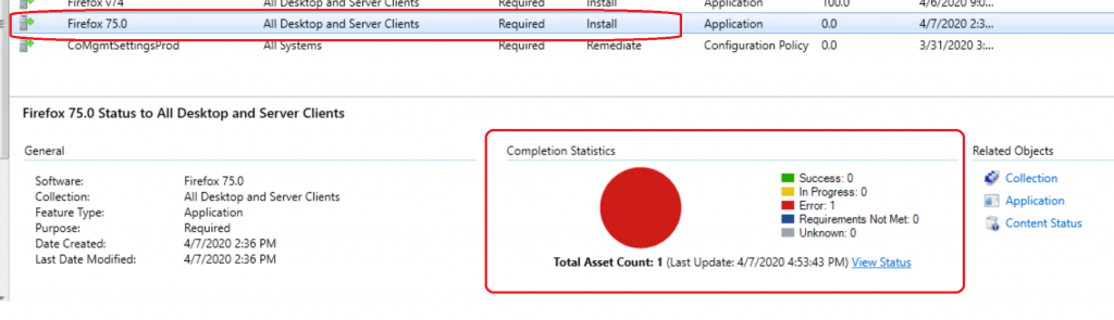 Error Completion Statistics - ConfigMgr Console