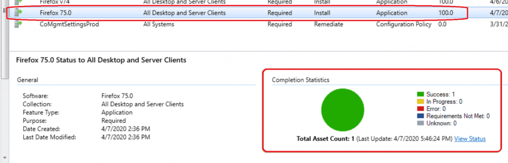 SCCM Console status - Successful deployment for Firefox