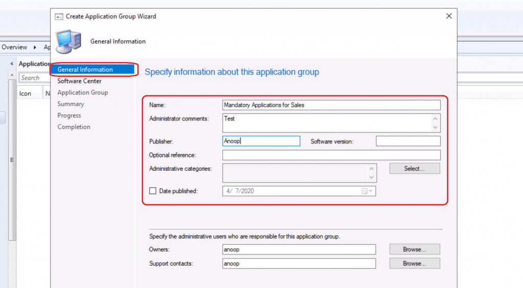 specify information about the app group - Create Application Group Using SCCM