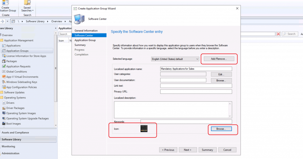 Add additional Languages - Create Application Group Using SCCM