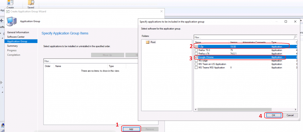 Add application - Create Application Group Using SCCM