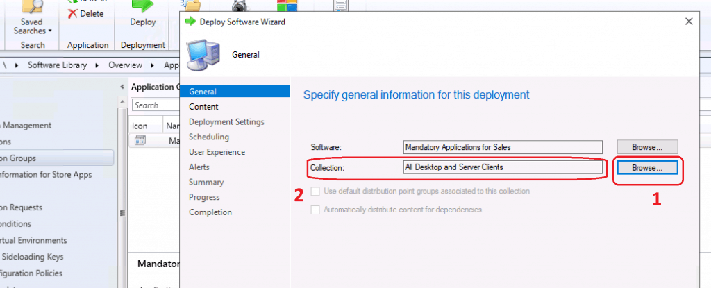 Deploy Software Wizard - Create Application Groups Using SCCM