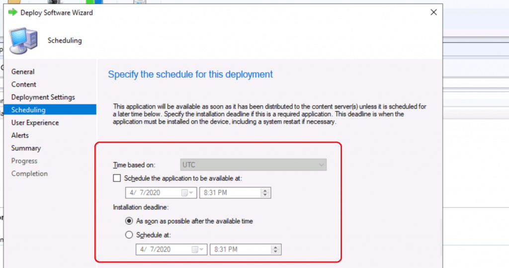 Specify the schedule for this deployment - Create Application Groups Using SCCM