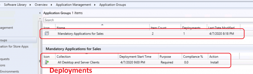 Application Groups Using SCCM - Deployments