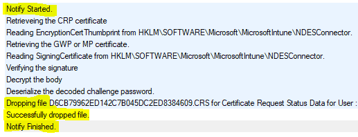Intune SCEP Certificate Workflow - CRP Log Analysis - Notifyrequest function call