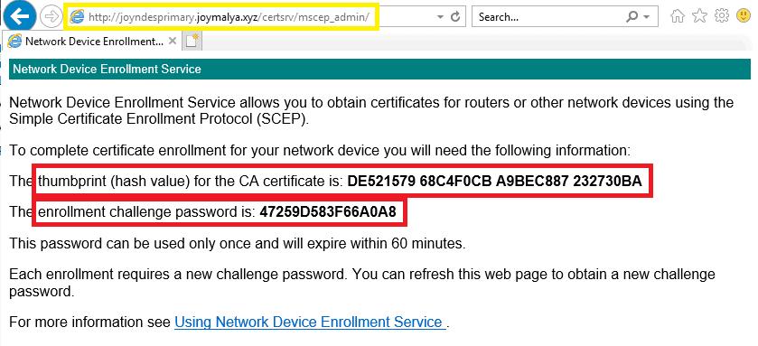 Intune SCEP Deep Dive - In General SCEP worfklow we have seen the device Admin navigates to \certsrv\mscep_admin to retrieve challengePassword.