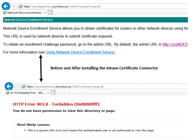 Intune SCEP Deep Dive - Post successful sign-in to certificate connector, NDESPlugin module, component of the certficate connector starts intercepting the requests coming to the SCEP URLs. For good configuration, it dispalys the HTTP Error 403.