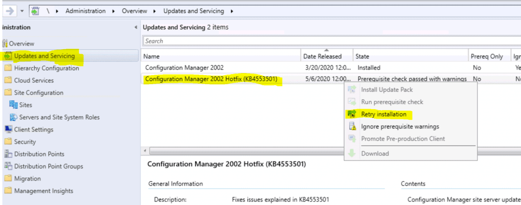 Retry ConfigMgr Hotfix Installation