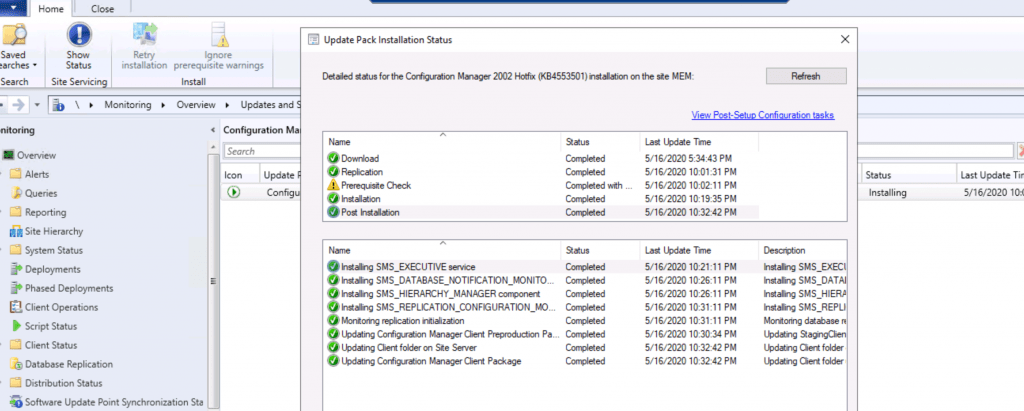 Configuration Manager 2002 Hotfix (KB4553501) Retry ConfigMgr Hotfix Installation