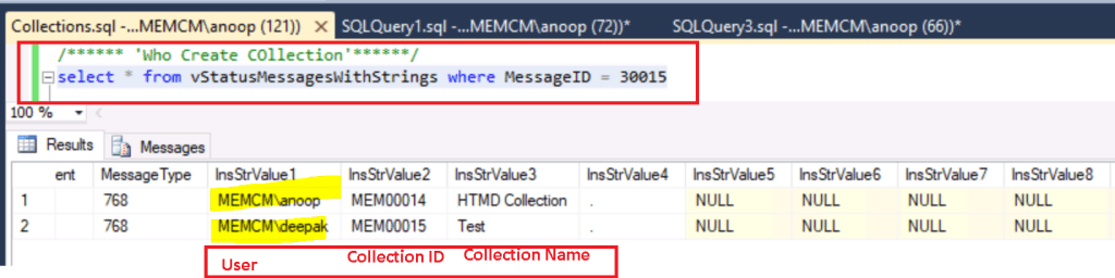 Created SCCM Collection - Who Modified SCCM Collection - ConfigMgr