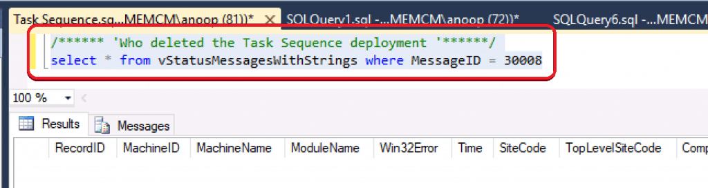 Who Modified ConfigMgr Task Sequence Deployment