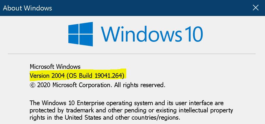 Windows 10 2004 - OS Build 19041.264
