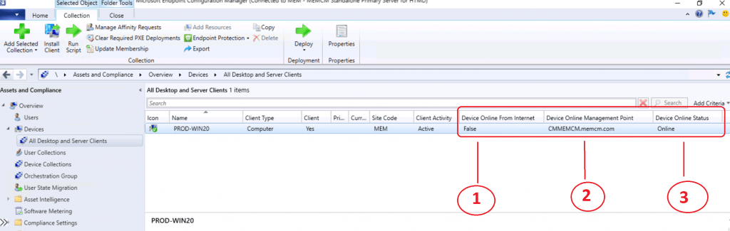 ConfigMgr Client Status from SCCM Console