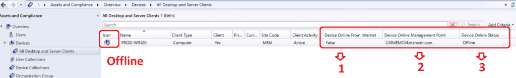 ConfigMgr Client Status from SCCM Console - Offline Device