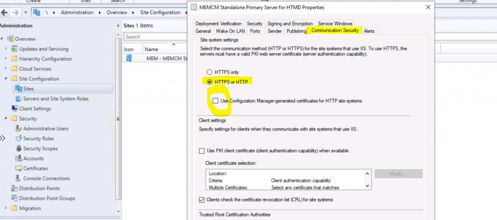 Console Connections  - ConfigMgr 2002 version works without enabling Use Configuration manager generated certificates for HTTPS site systems from Primary server.