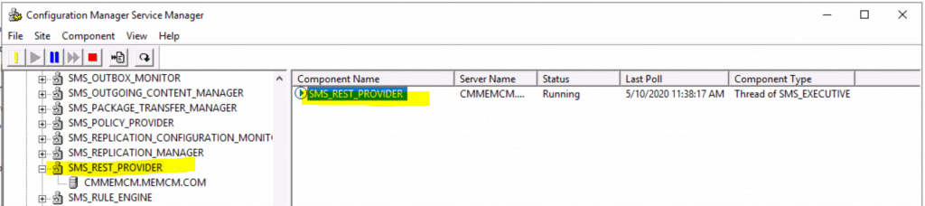 ConfigMgr Service Manager SMS_Rest_Provider