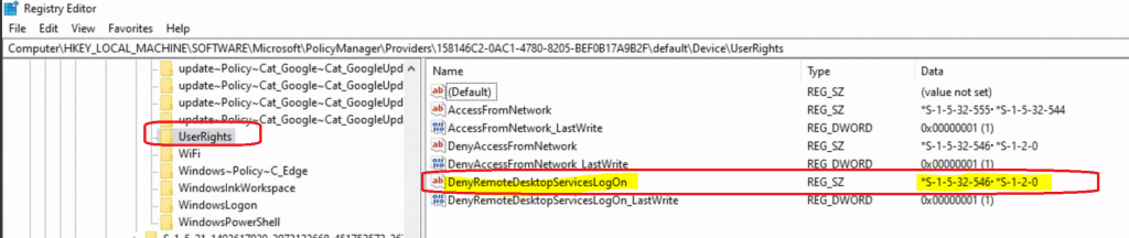 WVD Remote Desktop Logon Issue - Deny Remote Desktop Services Logon