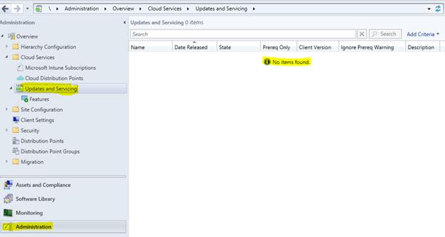 NO Updates available - SCCM offline service connection point ConfigMgr