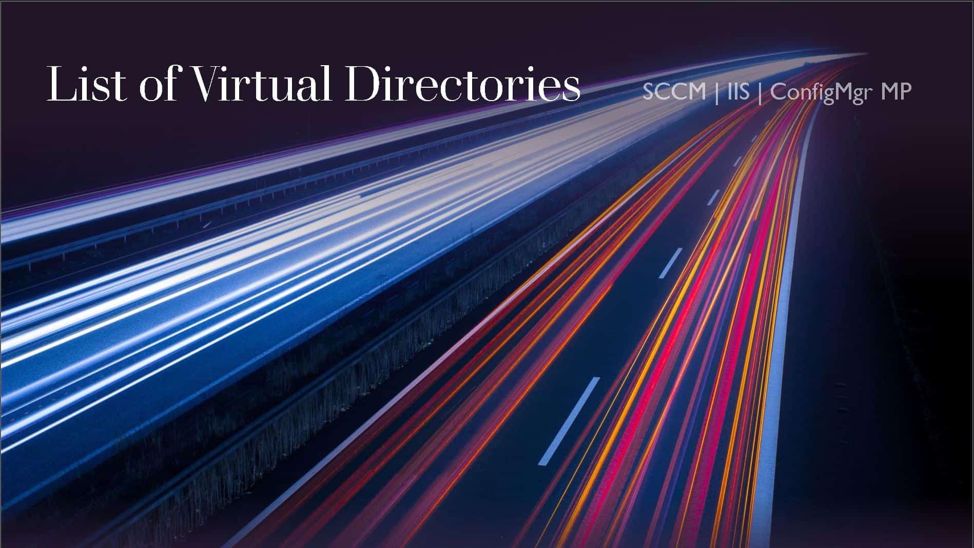 List of SCCM MP IIS Virtual Directories