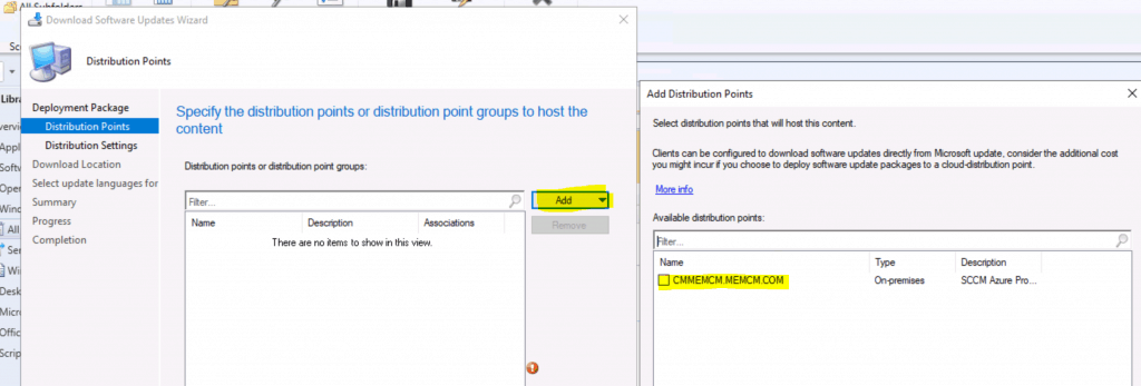 Add and select Distribution Point - Upgrade to Windows 10 2004 Using SCCM