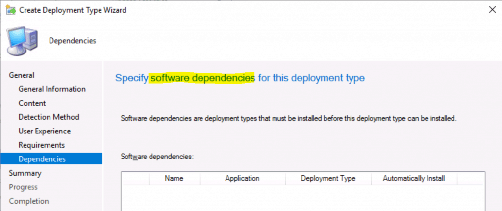 Specify software dependencies for this deployment type
