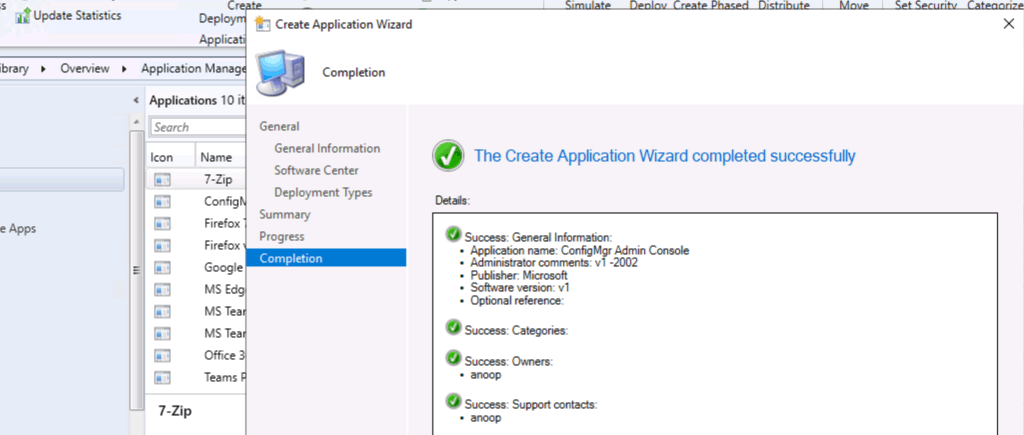 Create ConfigMgr Admin Console Application Using SCCM
