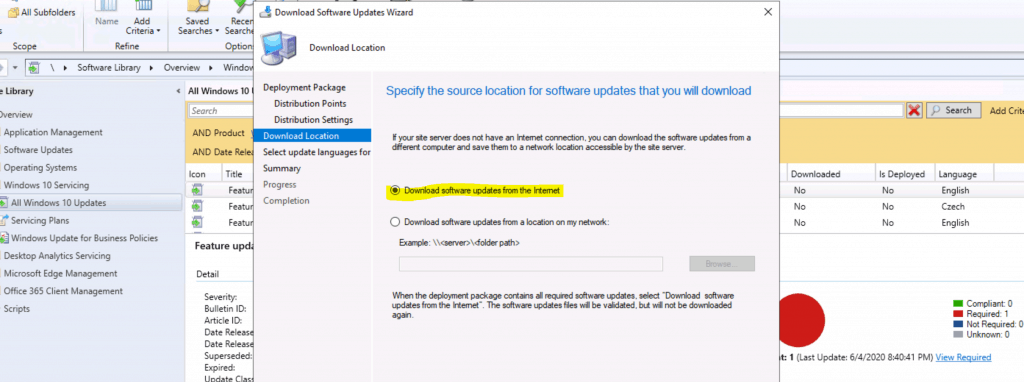 Upgrade to Windows 10 2004 Using SCCM - Download Software update from the internet