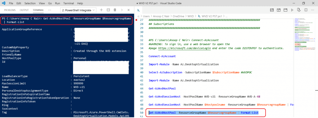 WVD V2 Management Using Visual Studio Code Instead of PowerShell ISE
