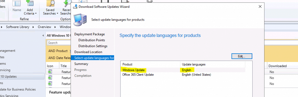 Specify the update languages for products - Upgrade to Windows 10 2004 Using ConfigMgr