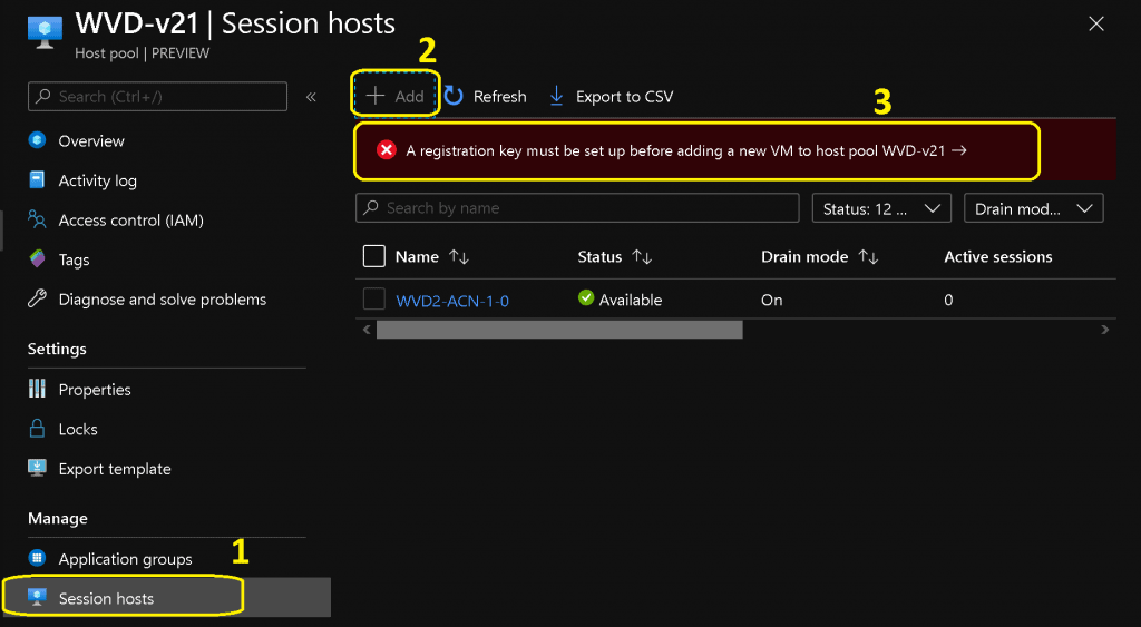 WVD Add New Session Hosts to Existing Host Pool WVD V2 New Admin Experience