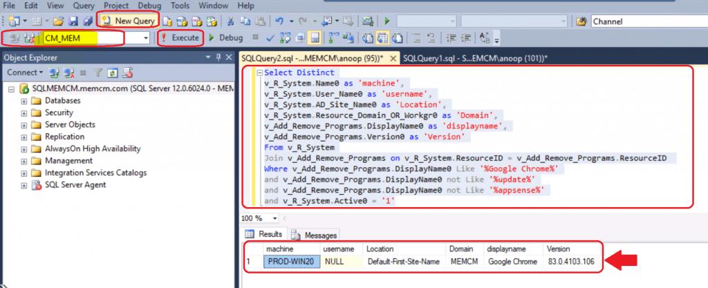 ConfigMgr Custom Report for Chrome Browser SQL query