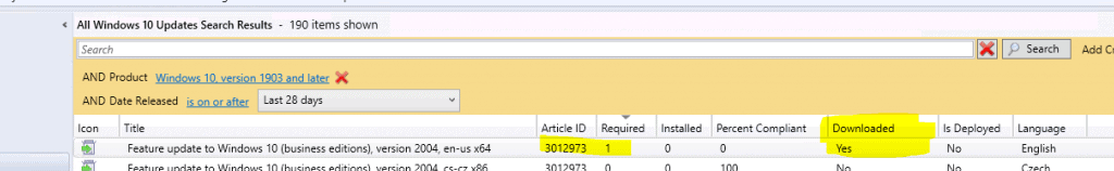 Upgrade to Windows 10 2004 Using ConfigMgr