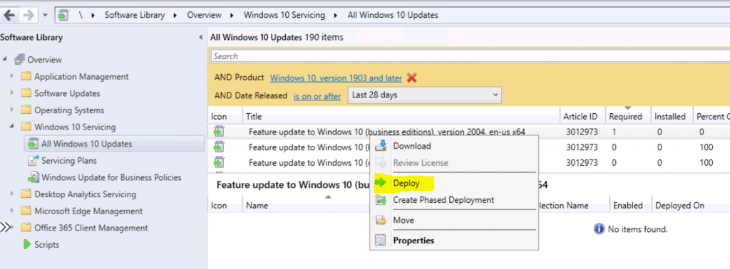 Deploy Windows 10 2004 Servicing Package