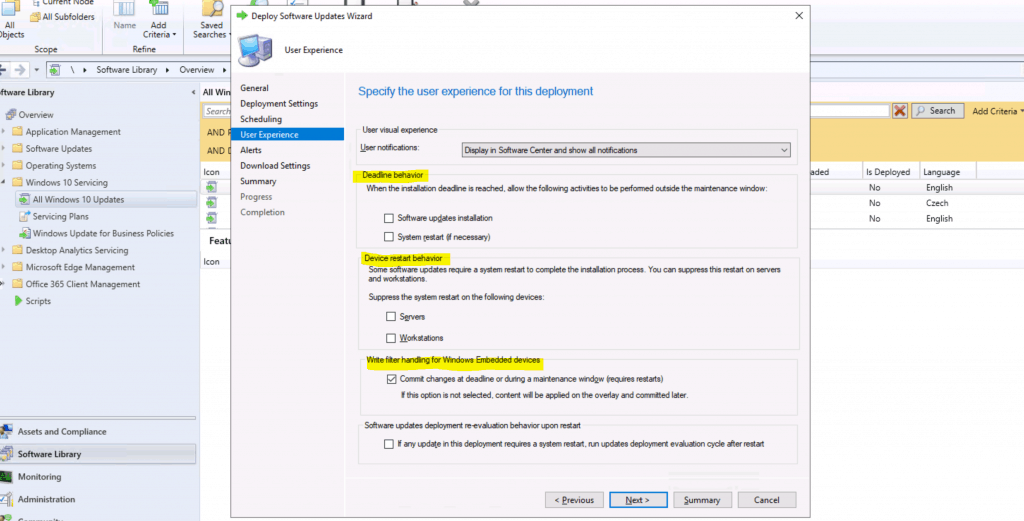 Software Updates Deployment re-evaluation behavior upon restart.