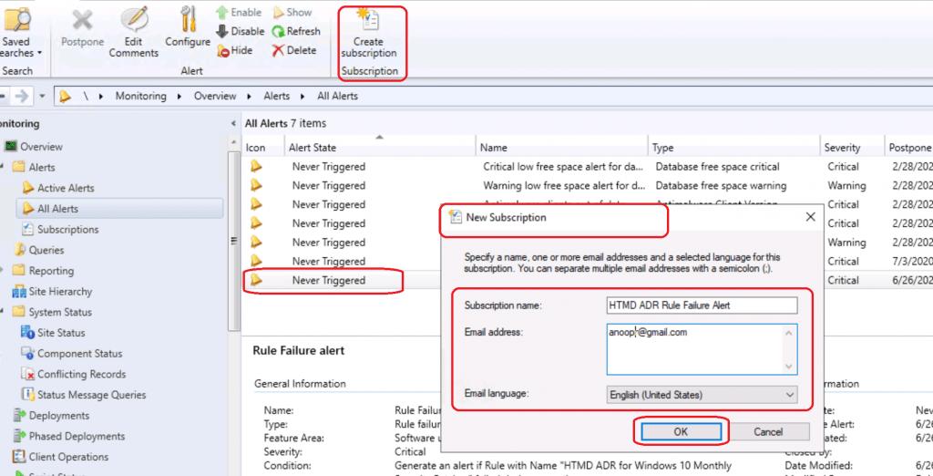 SCCM ADR Failure Alerts Setup Using ConfigMgr Subscriptions | ConfigMgr