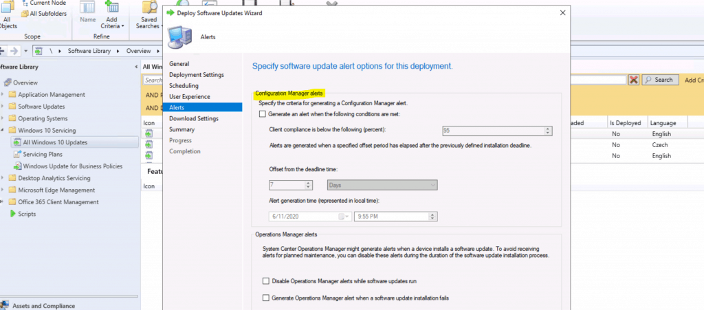 alert configuration for Windows 10 servicing deployment