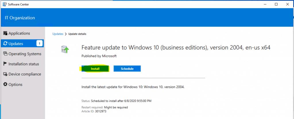 Upgrade to Windows 10 2004 Using SCCM | ConfigMgr | Servicing 1