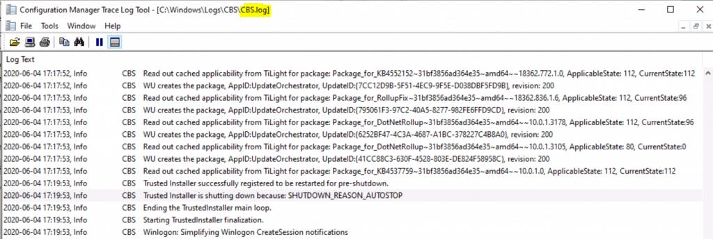 Log Files for Windows 10 Servicing