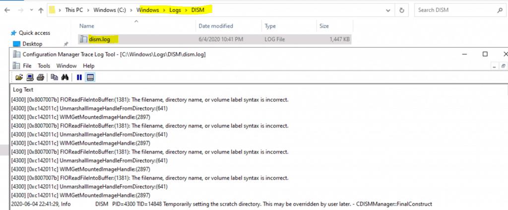 Dism.log - C:\Windows\Logs\DISM